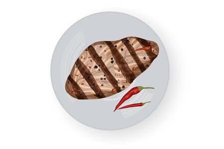 Grilled steak with chili pepper. White background. Vector illustration. White dish.