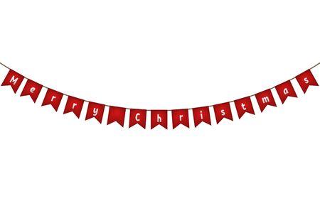 Merry Christmas. Red flag garland. Vector illustration. Иллюстрация