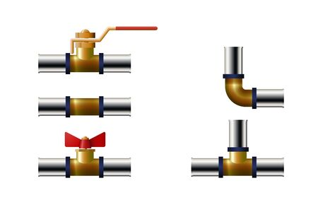 Tee, angle and faucet. Plastic tube fitting. Vector illustration.