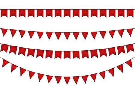 Christmas flag garland. Red decoration. Vector illustration. Illustration