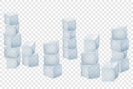 Square ice cubes. Cube blocks. Vector illustration.