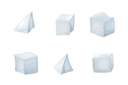 Set of transparency ice cubes and pyramids. Vector illustration. 3D design. White background.