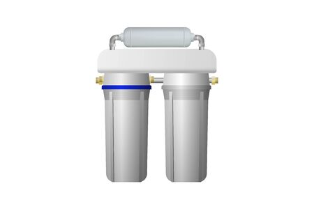 Home filter for drinking water purification. Vector illustration. Treatment equipment.