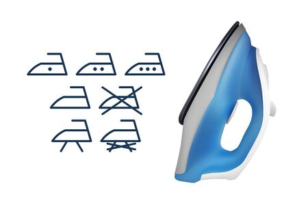 Blue electric iron. Set of icons. Vector illustration. Home electrical appliances.
