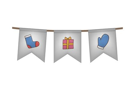 Christmas and new year flag garland. Sock, gift and mittens. White decoration. Vector illustration.