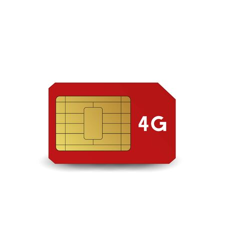 4G SIM card. Vector illustration. Mobile networks and telecommunications.