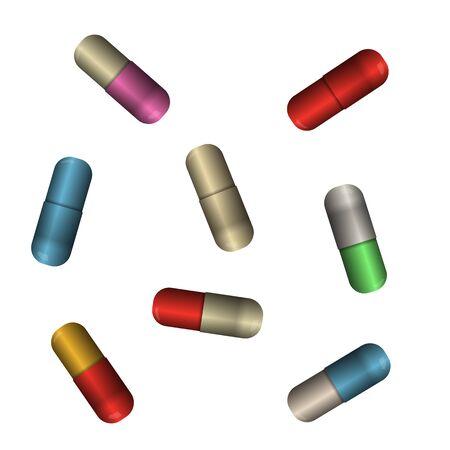 Pill capsules. Vector illustration. Medicament antibiotics collection. Vektoros illusztráció