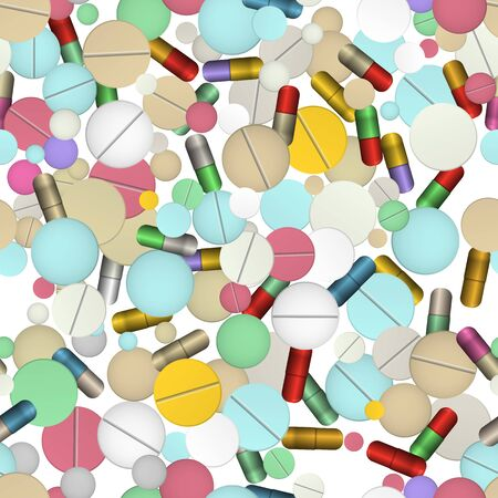 Tablets and vitamins. Vector illustration. Healthcare and medicine. Seamless pattern background.
