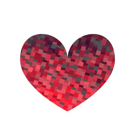 Square texture red heart. Valentine day card. Vector illustration.