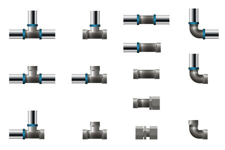 Fittings for polypropylene pipe. Vector illustration. Set of tee, angle and connector.