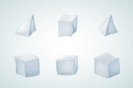 Set of ice cubes and pyramids. Vector illustration. 3D design. Winter design. Ilustrace