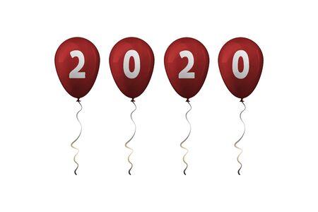 2020 Happy New Year. Red balloons. Vector illustration. Çizim
