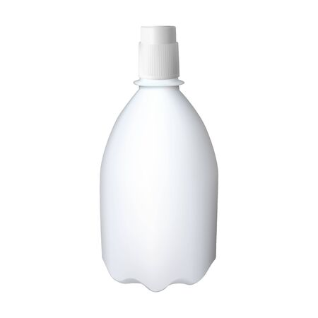 White plastic bottle. Cleaning detergent in the container. Vector illustration.