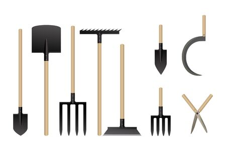 Garden tools collection. Vector illustration. Set of agriculture equipment.