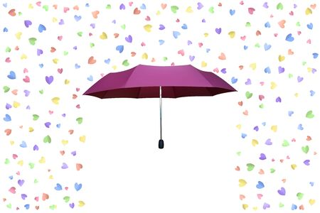 Valentine Day greeting card. Raining hearts. Pink umbrella. Vector illustration. Çizim