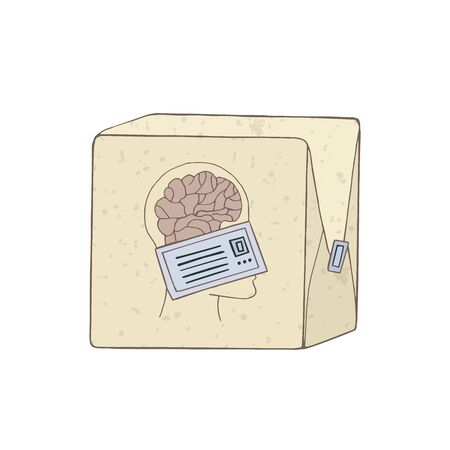 Brain drain problem. Smart people are leaving the country. Sending symbolizing mind. Vector illustration