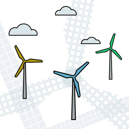 Wind turbine. Renewable energy. Vector illustration Modern equipment Illustration