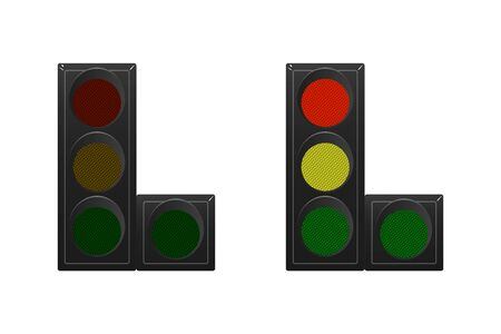 Set of traffic lights. Red, yellow and green. The traffic is straight, right. Vector illustration. Road sign. Ilustração