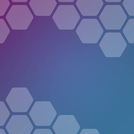 Abstract blue and purple background with hexagons. Web blank card design. Vector illustration. Ilustração