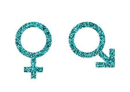 Man woman symbol. Vector illustration. Blue sequin. Mars Venus Banque d'images - 131387588
