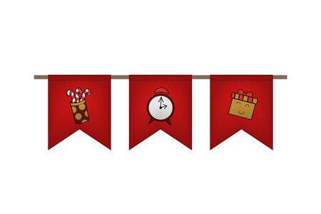 Christmas and new year flag garland. Red decoration. Vector illustration. Gift, candy, clock.