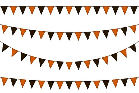 Halloween triangle decorative flag garland. Black and yellow. Vector illustration.