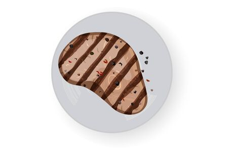 Grilled meat with seasonings. White background. Vector illustration. White dish. Ilustração