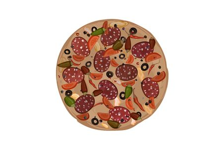 Pepperoni hot pizza. Tomato,chili pepper, olives, cheese, dough salami sausage seasoning Vector illustration Ilustração