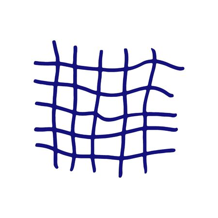 Hand drawn blue grid. Vector illustration. Stroke ink and marker.
