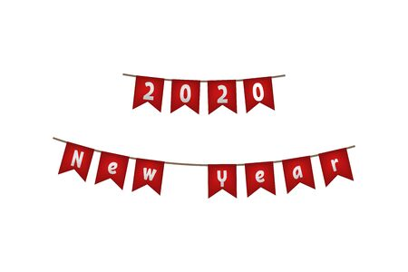 2020 New year flag garland. Red decoration. Vector illustration.