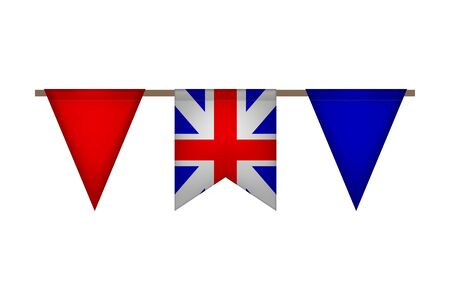 Great Britain triangle garland with flags. United Kingdom carnaval and festival. Vector illustration.