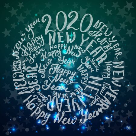 2020 New Year. Calligraphic text. Vector illustration. Green background with stars
