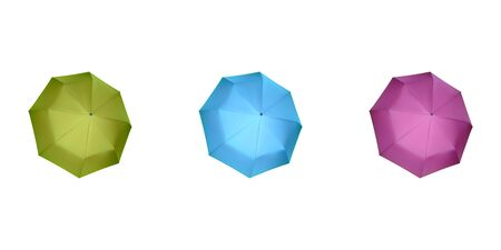 Set of multicolor umbrellas for women. Vector illustration. Protection from rain.