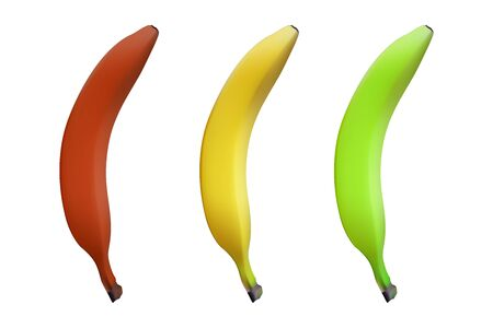 Realistic banana set. Green, yellow and red. Vector illustration. Healthy food.