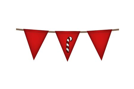 Christmas and new year. Triangle red flag garland. Candy decoration. Vector illustration.  イラスト・ベクター素材
