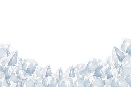 Translucent snow with ice. Vector illustration. White background. 矢量图像