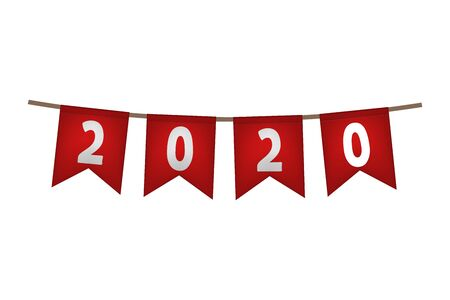 New year flag garland. 2020. Red decoration Vector illustration  イラスト・ベクター素材