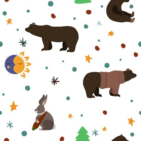 Cute brown bear and hare with carrot. Vector illustration. Seamless pattern background.