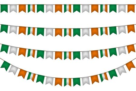 Ireland garland with flags. Carnaval and festival decoration. Vector illustration.