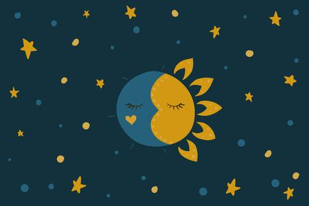 Sleeping sun and moon. Stars in the sky. Vector illustration. Night and day. Blue background.