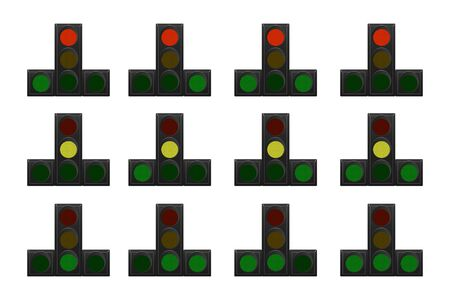Set of traffic lights. Red, yellow and green. The traffic is straight, right and left. Vector illustration.