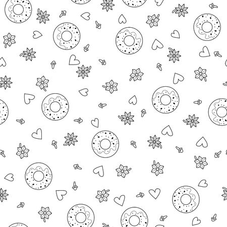Seamless pattern background with donut. Baking vector illustration. Vanilla and cloves. Doodle coloring book. Ilustração