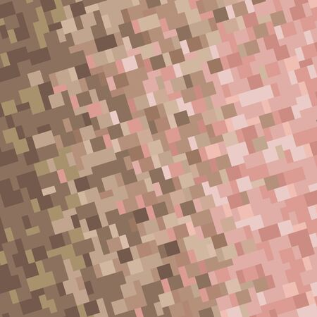 Background with square pixel texture. Vector illustration. Gradient brown and beige.