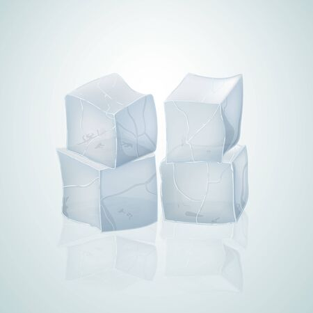 Translucent ice cubes for drink. Vector illustration.