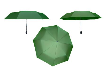 Set of green umbrellas. Vector illustration. Protection from rain.