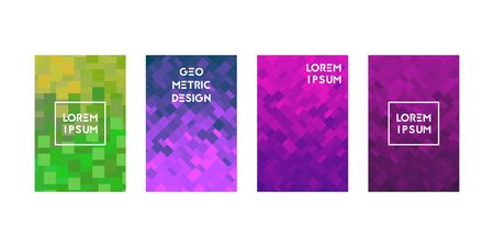 Cards set with pixel texture. Vector illustration. Modern design.