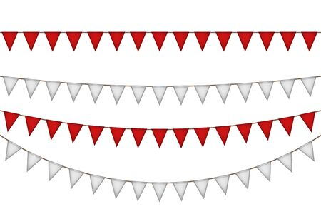 Flag garland for carnival. Red and white decoration. Vector illustration.