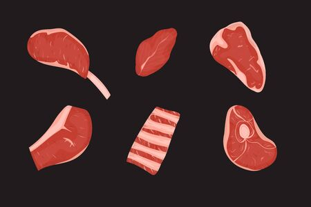 Set of meats cuts with fat. Vector Illustration. Black background. Imagens - 133360737