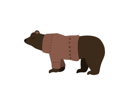 Cute brown bear. Vector illustration. Pink sweater.
