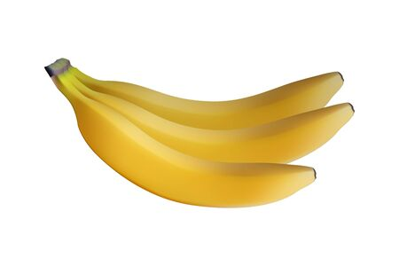 Realistic yellow banana bunch. Vector illustration. Healthy eating.
